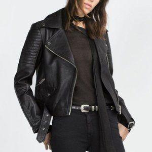 Zara genuine leather moto jacket